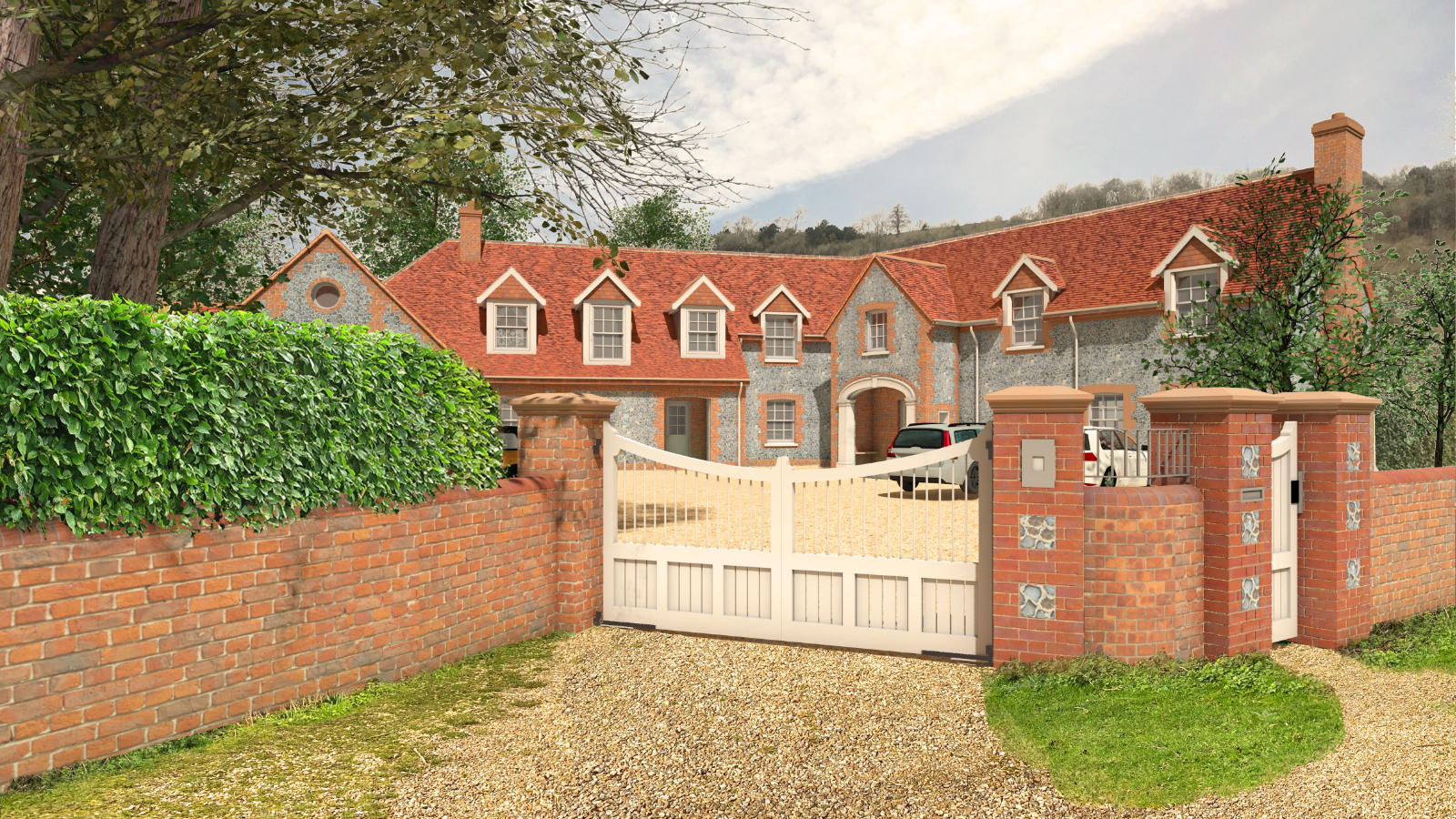 Private House Chilterns Architecture Gate View Flintwork